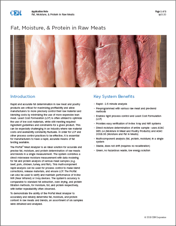 Fat, Moisture, & Protein in Raw Meats
