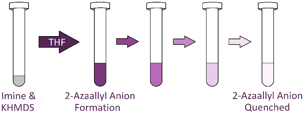 2-Azaallyl anion solutions are vibrantly colored (often purple) upon formation, turning colorless and transparent when quenched